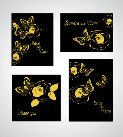 marcos decorativos: Floral spring templates with roses and butterflies. Wedding design, thank you cards, announcements, greeting cards, posters, advertisement.