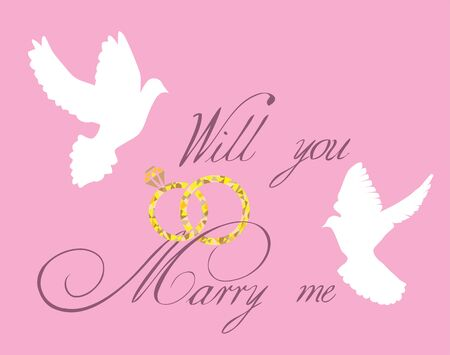 vector illustration of a wedding card with text template, diamond rings, doves flying
