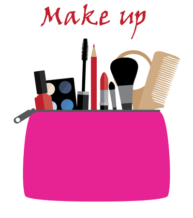 Vector illustration of flat icon of cosmetics bag with products. Vector flat design of make up. Make up elements. Make up vector details. Flat illustration of make up. Ilustração