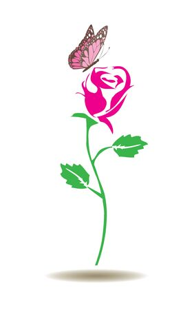 marcos decorativos: vector illustration of a rose silhouette with butterfly Vectores