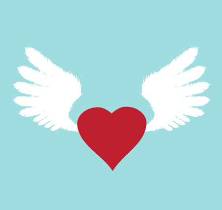 Vector illustration of white wings with red heart