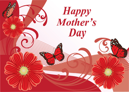 female pink: Vector illustration of mothers day card with butterflies and flowers Illustration