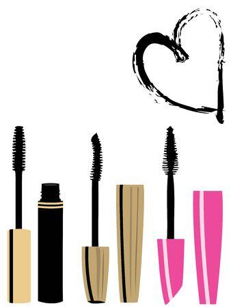 Vector illustration of mascara brushes set and heart Illustration