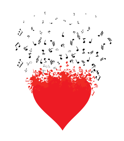 Vector illustration of a musical heart with flying notes