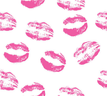 girl mouth: Seamless patterns with lipstick kisses. Colorful imprints of real lipstick textures.