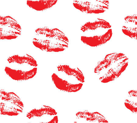girl mouth: Vector illustration of lipstick kisses seamless background