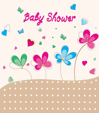 Vector illustration of a baby shower card with flowers, butterflies