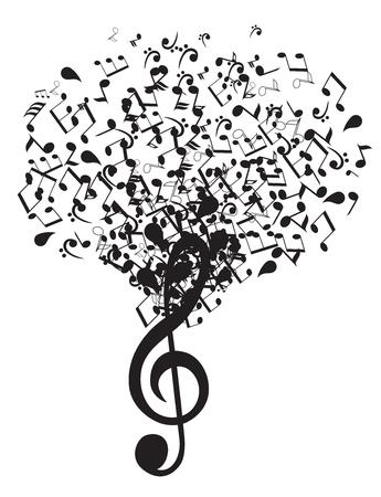Illustration vectorielle d'un clef musical avec des notes Banque d'images - 77064410