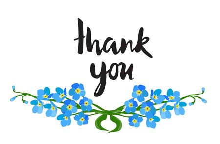 Vector illustration of thank you card with forget me not flowers Ilustração