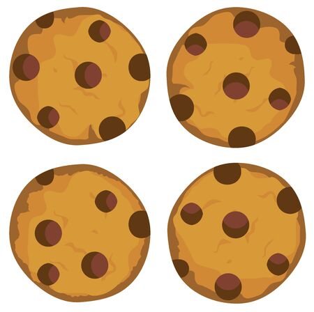 chocolate cookie: Vector illustration of a chocolate chip cookie set Illustration