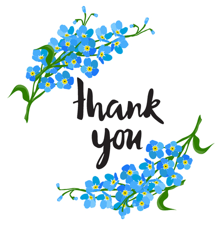 Vector illustration of forget me not flowers thank you card
