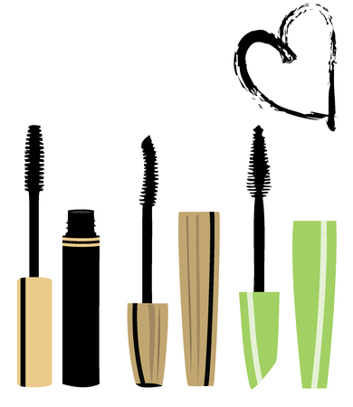 vector illustration of mascara brushes make up background with heart