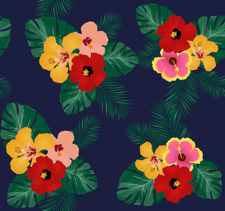 vector illustration of seamless tropical background with hibiscus flowers, palm leaves