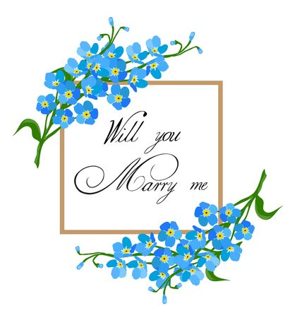 vector illustration of a floral frame will you marry me card