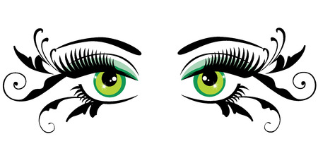 vector illustration of eyes with long lashes and swirls Illustration