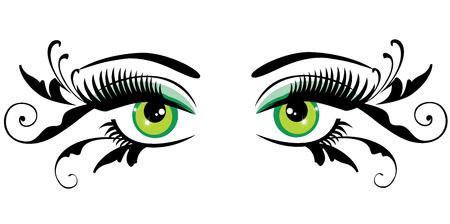 vector illustratie van ogen met lange wimpers en wervelingen Stock Illustratie