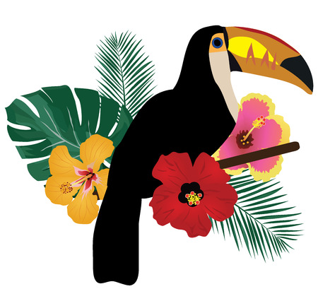 vector illustration of a toucan bird, tropical flowers tropical background Illustration