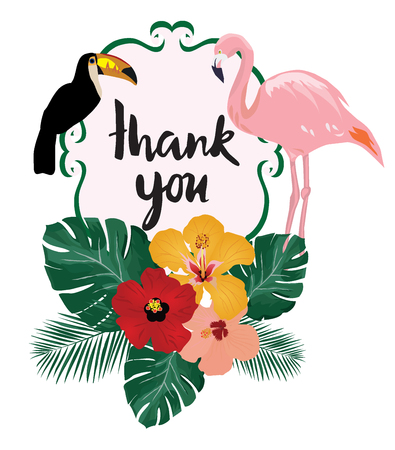 vector illustration of thank you card note with birds flamingo, toucan, tropical flowers