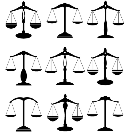 justice scale: vector illustration of scales of justice set isolated on white background Illustration