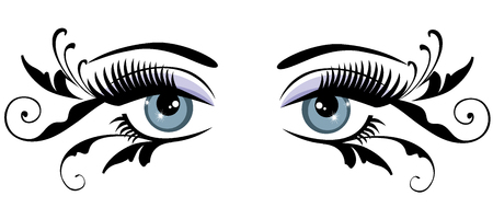 vector illustration of eyes with long lashes and swirls Ilustração