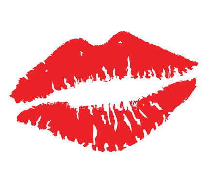 girl mouth: vector illustration of a red lipstick kiss