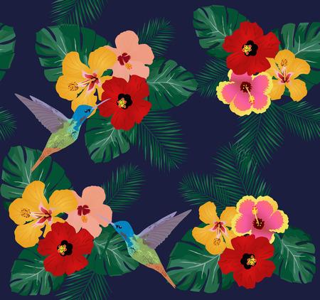Ilustración vectorial de fondo floral con flores tropicales, colibríes Vectores
