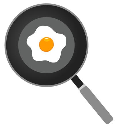 vector illustration of fried egg on frying pan, flat icon, fried egg closeup Ilustração