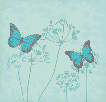 happy couple: vector illustration of vintage background with herbs and butterflies