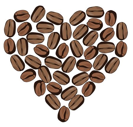 vector illustration of coffee bean heart isolated on white background Illustration