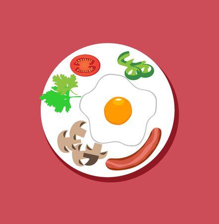 vector illustration of breakfast flat design. Food on plate. Fried egg, mushrooms, tomato, veggies. Иллюстрация