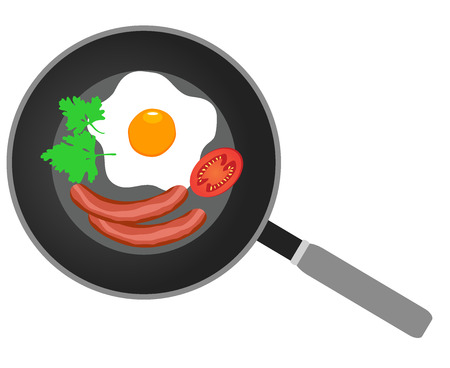 vector illustration of fried eggs on frying pan flat design