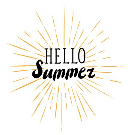 vector illustration of hello summer sun rays retro background