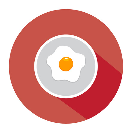 vector illustration of fried egg on plate flat icon Иллюстрация