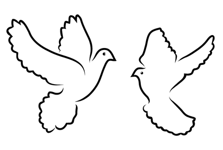 vector illustration of doves silhouettes isolated on white background