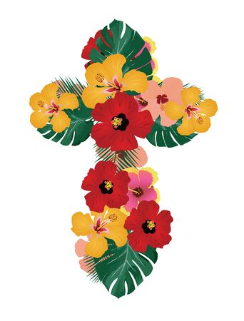 green cross: vector illustration of floral cross tropical flowers and palm leaves