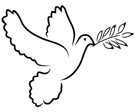 Vector illustration of dove silhouette with olive branch. Peace symbol.