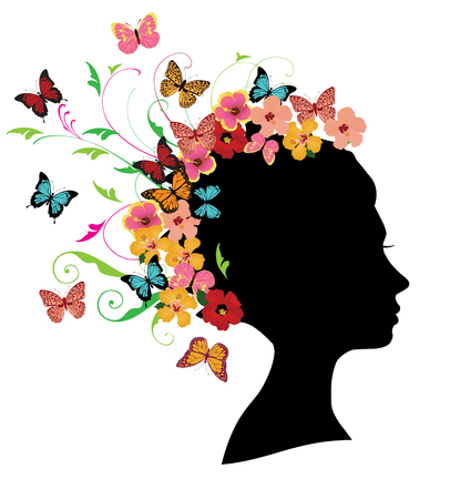 vector illustration of girl head silhouette with floral hair, swirls, flowers, butterflies. 일러스트