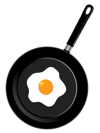 vector illustration of a frying pan with egg