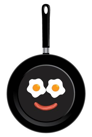 Vector illustration of a frying pan with smiley face. Breakfast fried eggs and sausage. Ilustração