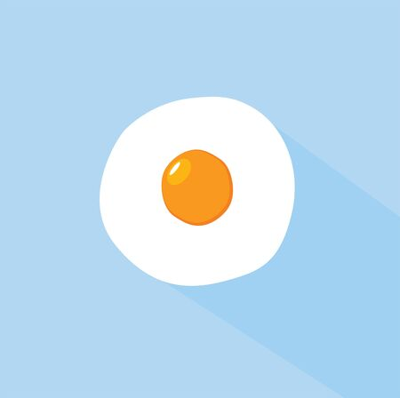 fried: vector illustration of flat design egg on the plate