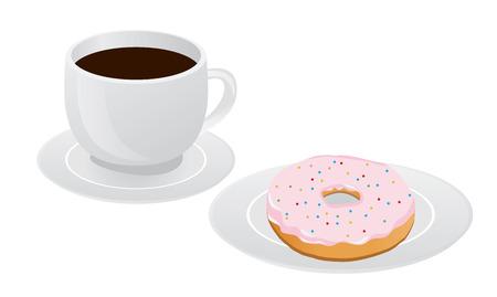 Vektor-Illustration von Tasse Kaffee und Donuts keine die Platte Standard-Bild - 81692807