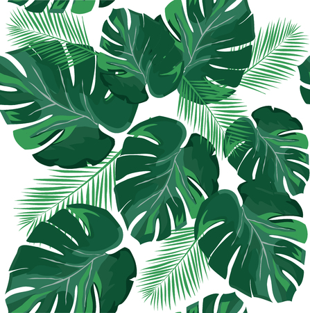 vector illustration of tropical palm leaves background Çizim