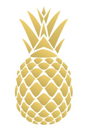 Vector illustratie van een gouden ananas geïsoleerd op een witte achtergrond