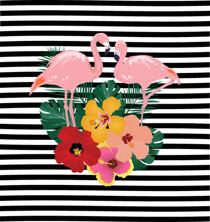vector illustration of tropical flowers flamingos on striped background Illustration