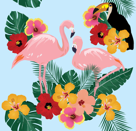 vector illustration of flamingo and tropical flowers background Illustration