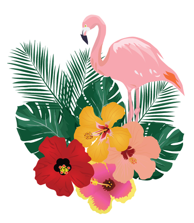 vector illustration of flamingo and tropical flowers background Vector Illustration