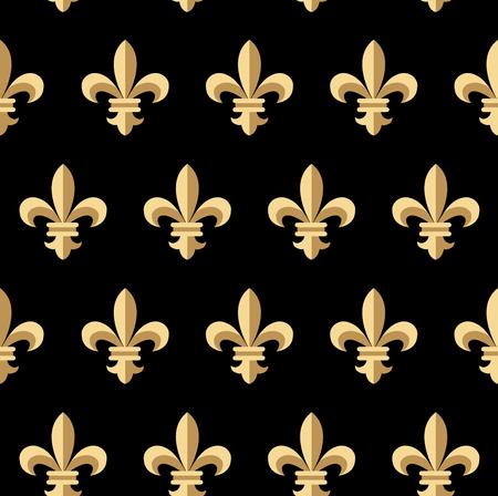 Vector illustration of golden fleur-de-lis seamless pattern. Vintage design for cards, wallpaper, wrapping paper, textile. Floral classic texture royal lily. Fleur de lis floral retro background.