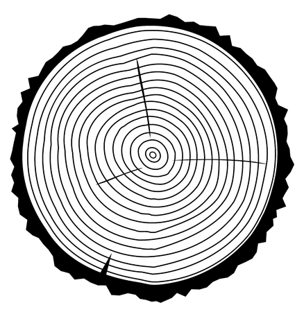 Vector illustration of tree ring background and saw cut tree trunk black silhouette. Conceptual graphics. Vettoriali