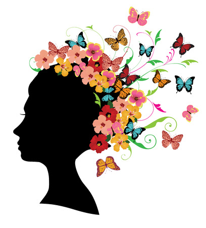 vector illustration of a girl head silhouette with flowers and butterflies