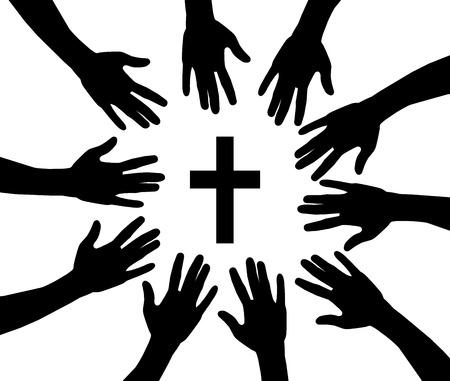 Vector illustratie van bidende handen en kruis Stockfoto - 83475403